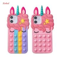 Relive Stress Push It Bubble custodia per telefono in Silicone unicorno rosa 3D per Iphone 12 11 Pro Max 6 7 8 Plus X XR XS Max Rainbow Cover