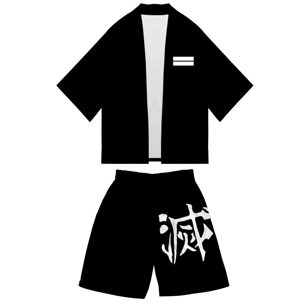 Demon Slayer New Kimono Shorts Set Kimetsu No Yaiba Ufotable Cool Japanese Style Comfy Sets