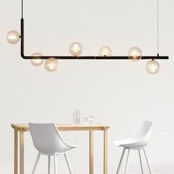 Nowoczesny szklany żyrandol z kulką do jadalni Nordic długi stół lampa wisząca Retro lampa wisząca na poddaszu do baru  sklepu