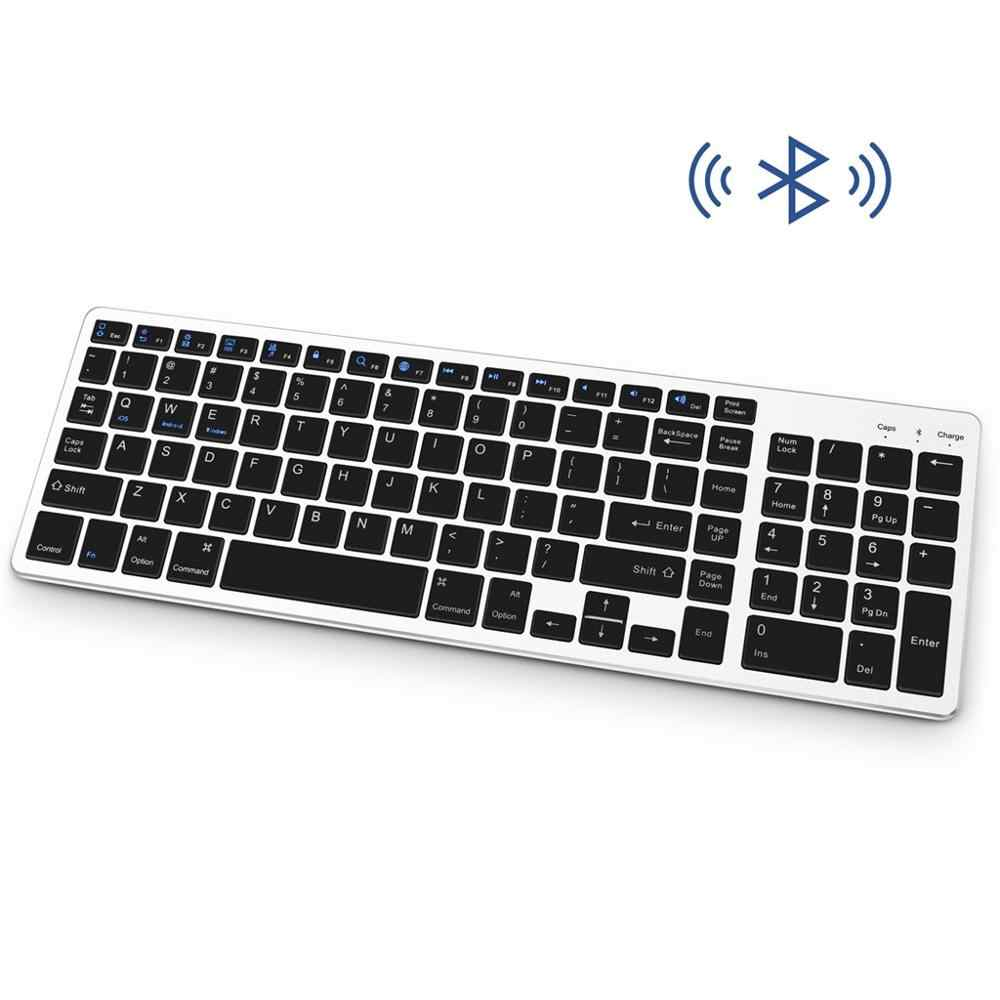 Bluetooth Keyboard Isi Ulang Portabel BT Wireless Keyboard dengan Nomor untuk PC Ultra Kecil Jalan Pintas dan Desain Anti Slip