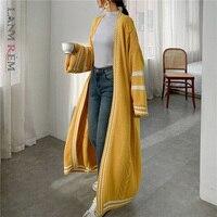 LANMREM 2021 autunno nuovo Cardigan stile lungo per donna maglione lavorato a maglia Casual Patchwork a righe allentato cappotto popolare PC425