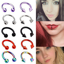 1piece 8mm Fashion stainless steel Horseshoe Fake Nose Ring C Clip BCR Septum Lip Piercing Falso Nose Rings Hoop For Women Men(China)