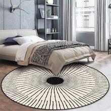 Wishstar Скандинавский современный простой ковер черный белый круглый ковер для спальни круглый коврик с геометрическим орнаментом коврик для стула
