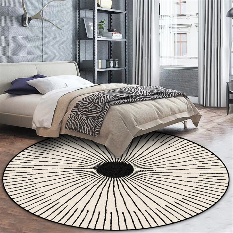 Wishstar Nordic Modern  Simple Carpet Black White Circle Strip Bedroom Carpet Round Geometric Rug Chair Mat