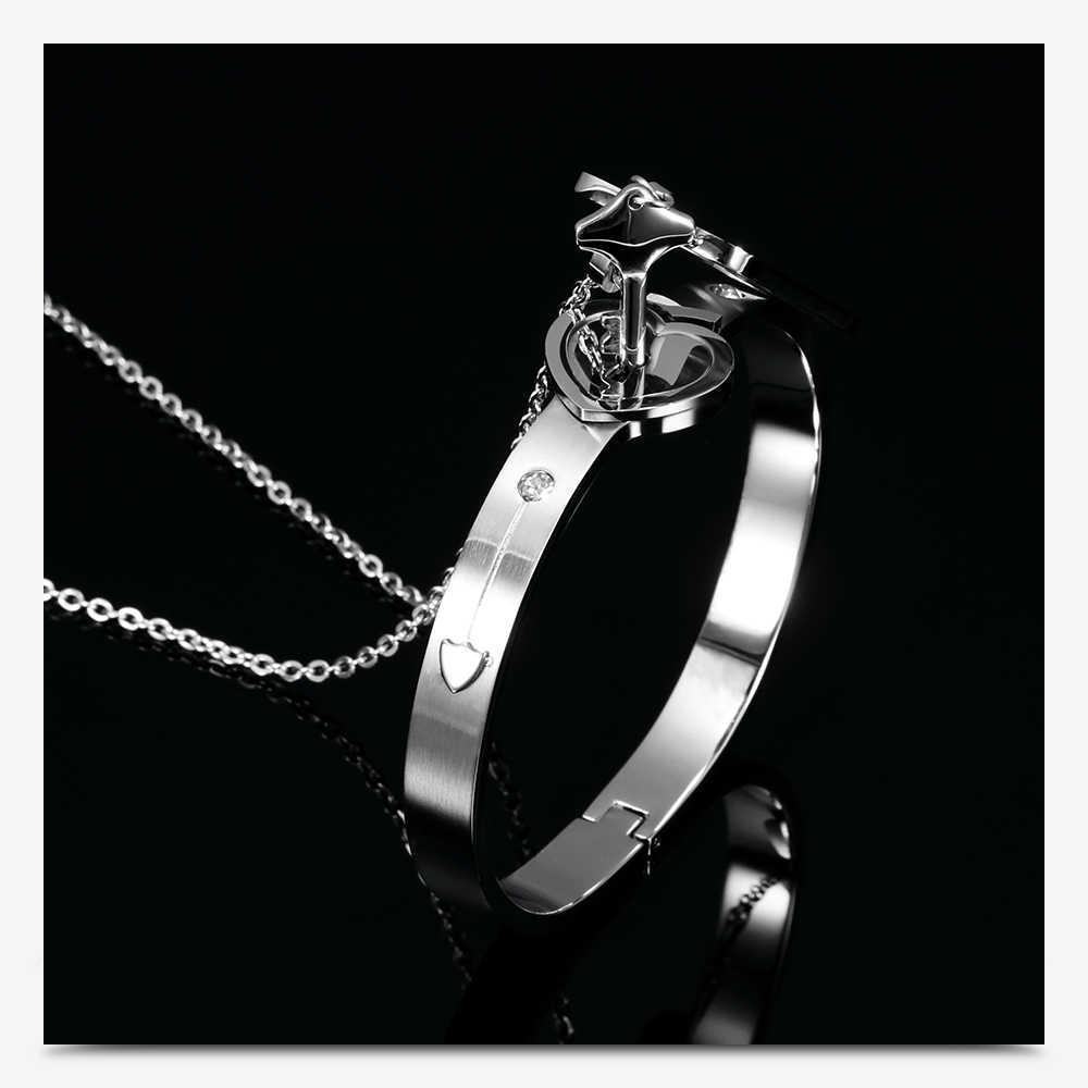 Casal jóias de aço inoxidável pulseira amor coração bloqueio pulseiras pulseiras chave pingente colar para o amante jóias presente
