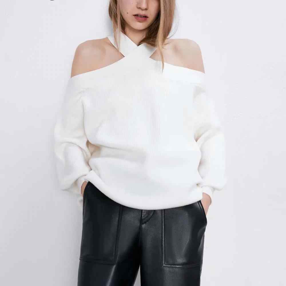 ZA new autumn winter women's white black knitted sweater cross off shoulder tops chic lady slim Casual sweater female pullover