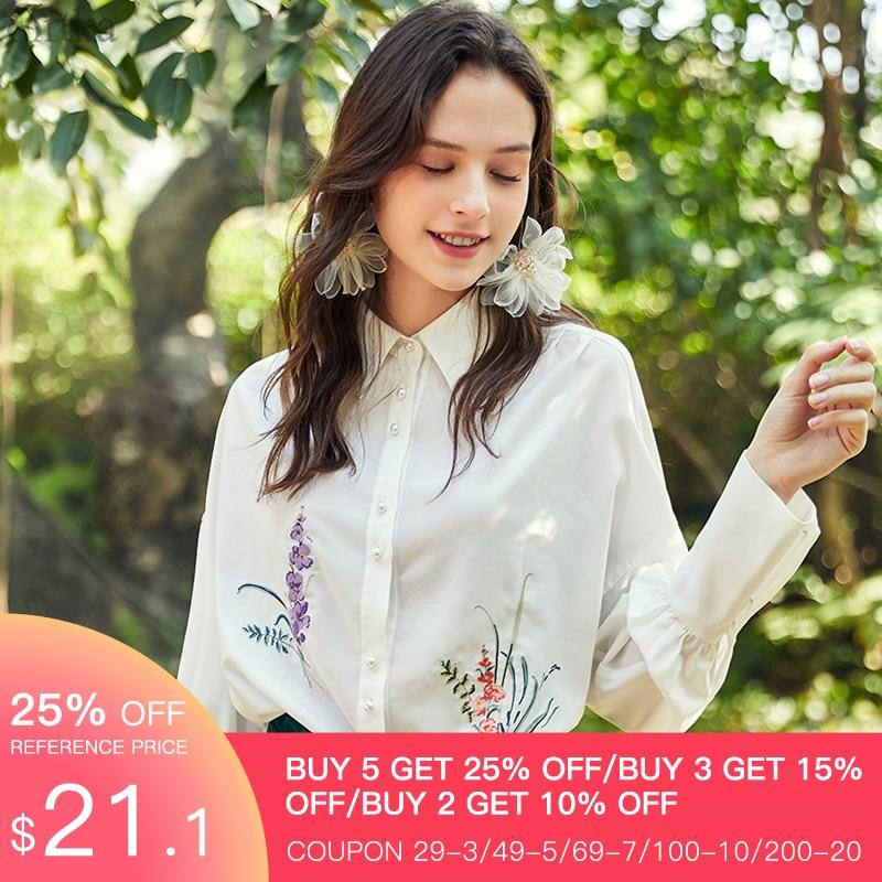 ARTKA 2020 Spring New Women's Blouse Vintage Flower Embroidery Chiffon Blouse Loose Turndown Collar White Shirt Women SA25109C