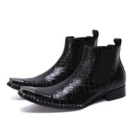 Black Mens Boots Chelsea Fashion Shoes Elastic Square Toe Shoes Winter Men Rhinestone Bordered Ankle Boots Slip On Leather Boots