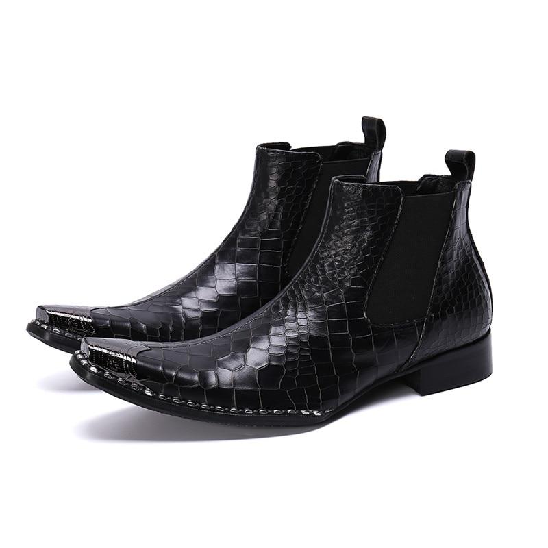Bottes noires pour hommes chaussures de mode Chelsea chaussures élastiques à bout carré hiver hommes strass bordées bottines en cuir sans lacet