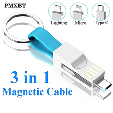 3 in 1 Magnetic USB Charging Cable Micro Type C 8pin Lighting Cord For iPhone 7 Samsung Huawei 2A Mini Keychain Charger Cabo