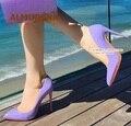 Almudena roxo patente couro apontado toe bombas 12cm rasa deslizamento-em sapatos de casamento salto alto 10cm 8cm sapatos de festa size45 bombas