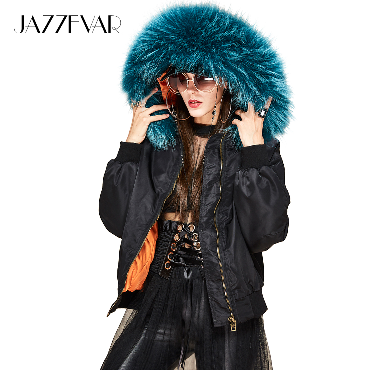 JAZZEVAR 2019 New winter fashion street woman hooded bomber   jacket   large raccoon fur collar short   basic     jacket   quilted outwear