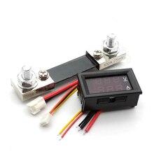 """DC 0 100V 100A Digitale Voltmetro Amperometro Doppio Display Rilevatore di Tensione di Corrente Tester di Pannello Amp Volt Gauge 0.28 """"Rosso Blu LED"""