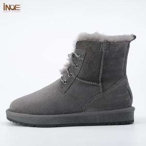 Image 4 - INOE Sheepskin Leather Wool Fur Lined Men Lace Up Short Ankle Winter Snow Boots For Man Casual Shoes Waterproof Black Brown Grey