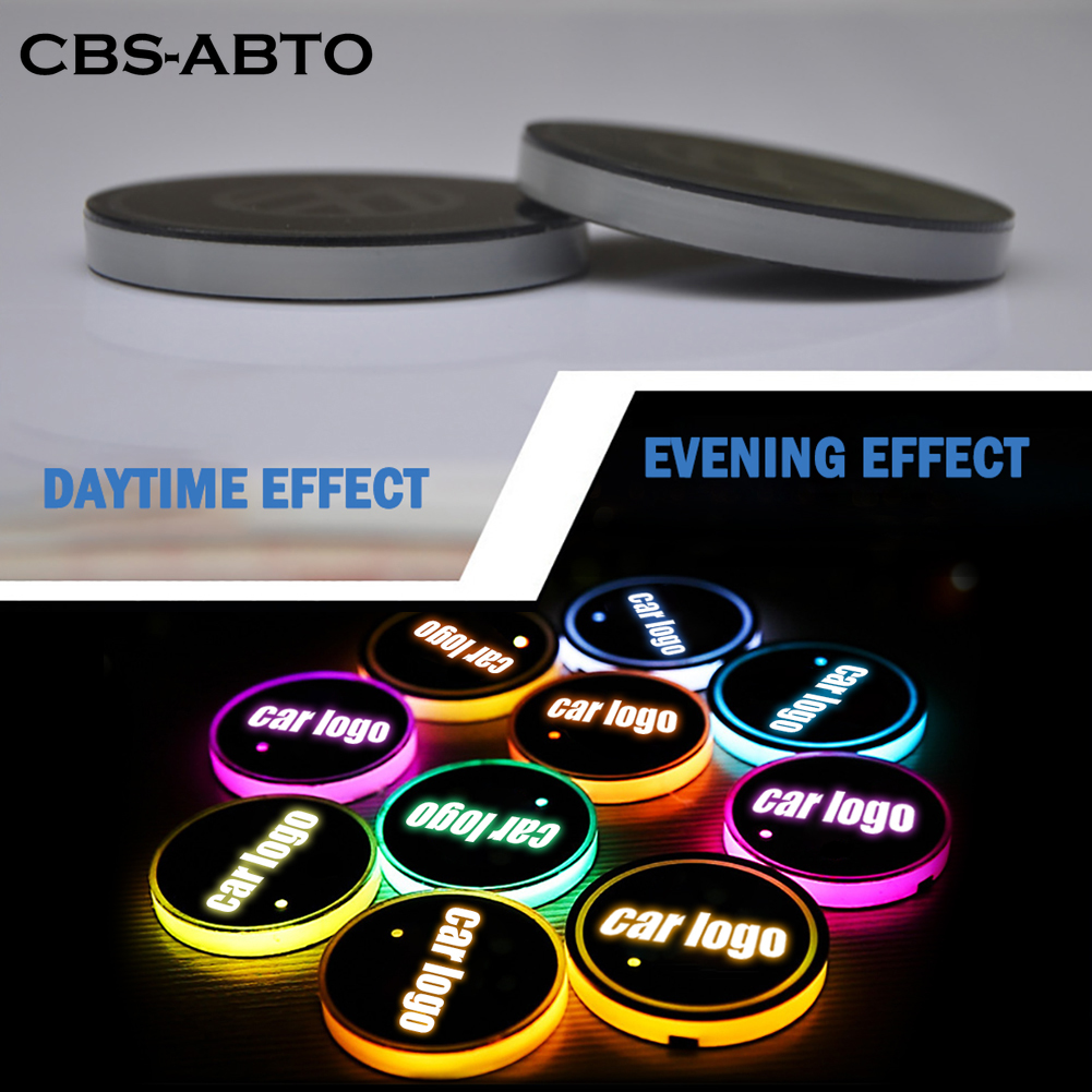 CBS ABTO <font><b>LED</b></font> <font><b>Car</b></font> <font><b>Logo</b></font> Cup Lights For Audi BMW Ford Toyota Honda 7 Colors Atmosphere Light <font><b>LED</b></font> Mats Bottle Lamps <font><b>USB</b></font> Charging image
