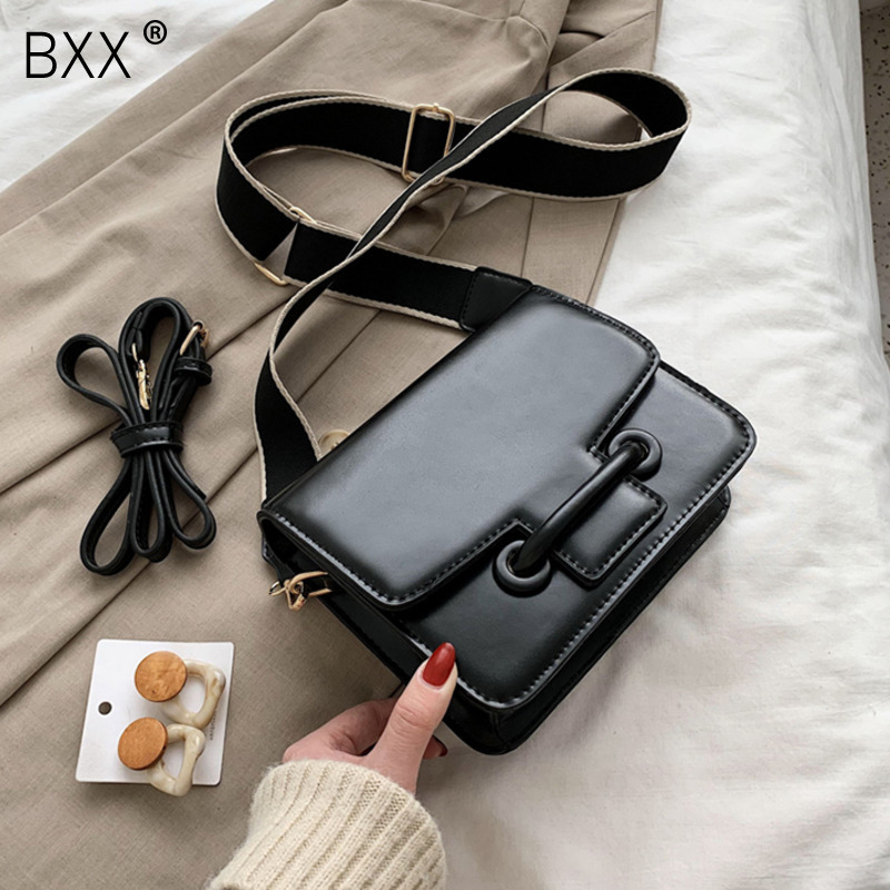 [BXX] PU Leather Wide Straps Crossbody Bags For Women 2020 Spring Simple Shoulder Messenger Bag Luxury Quality Handbags HK522