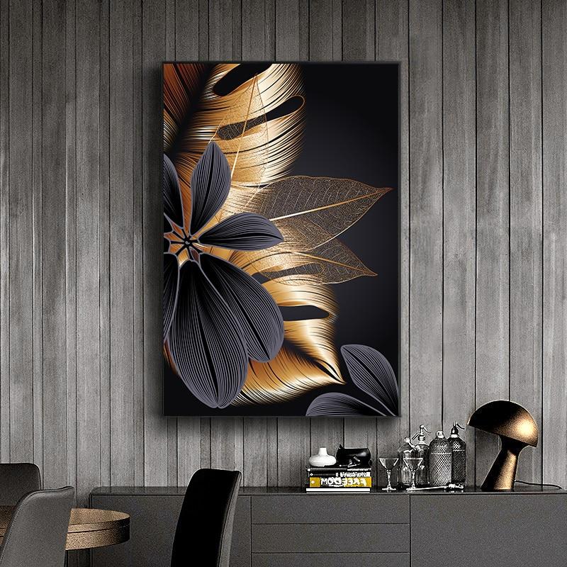 Czarny złoty liść rośliny plakat na płótnie druku nowoczesne dekoracje do domu abstrakcyjna ściana artystyczny obraz Nordic salon obraz do dekoracji