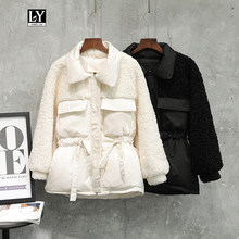 Ly Varey Lin Winter Down Jackets Warm Patchwork Lambswool Loose Cute White Duck Down Parka Women Female Sash Tie Up Overcoat(China)