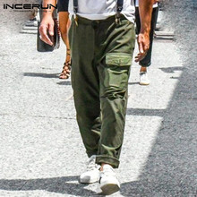 Streetwear Trousers Rompers Cargo-Pants Straps Pockets-Button INCERUN Baggy Men Casual