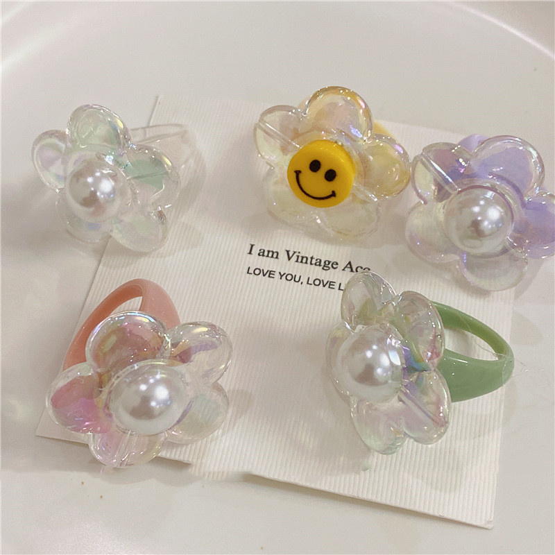 Ins ветер ретро геометрическое цветочное кольцо для девушек цветное кольцо из смолы с закрытым ртом корейские бисеры Цветочные стили разные