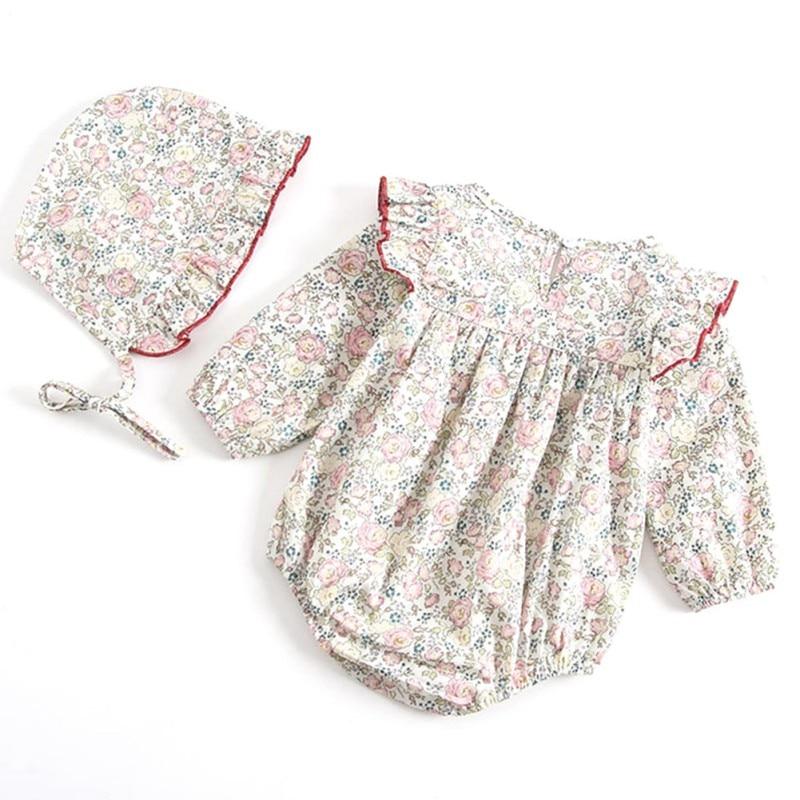 Infant Baby Girls Summer Round Collar Short Sleeve Floral Print Girls Jumpsuit Climb Soft Romper+Hat Two-piece Set