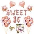 52 шт./компл. милые 16 украшения для вечерние розовое золото декор для дня рождения вечеринки фольгированные воздушные шары для взрослых рекв...