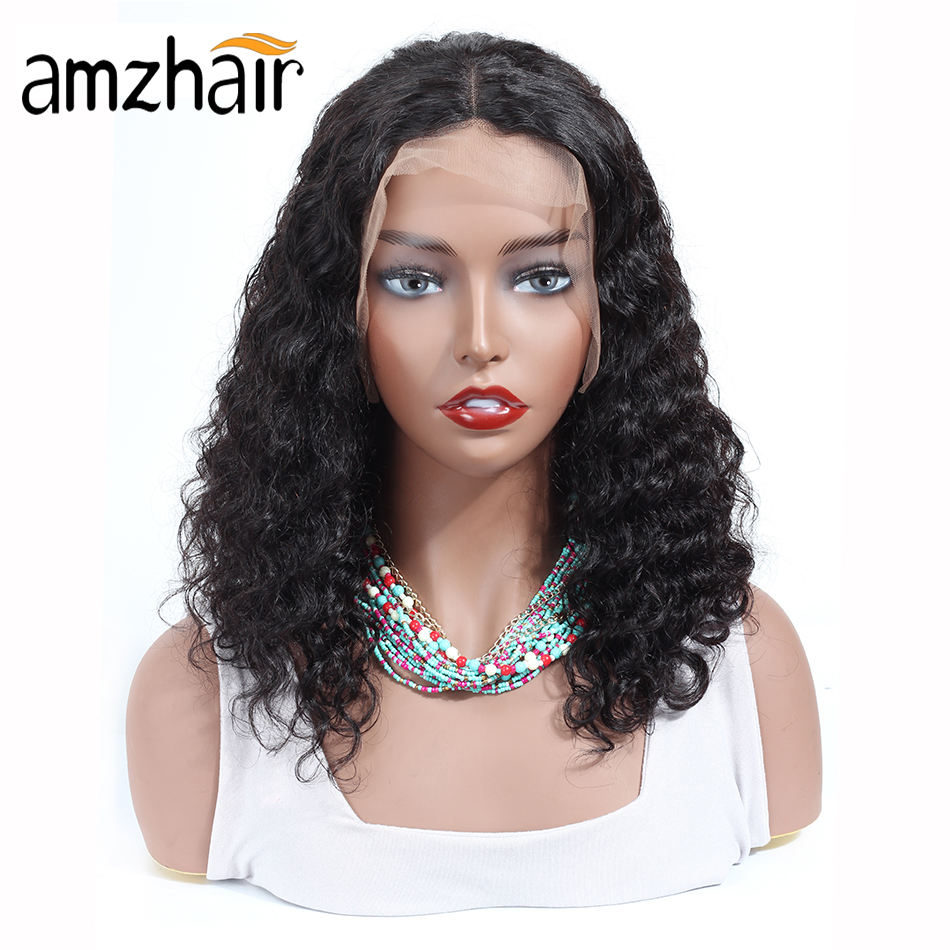 Deep Wave 13*4 Lace Front Human Hair Wigs Brazilian Remy Hair 130 150 Density Short Closure Frontal Bob Wigs For Black Women