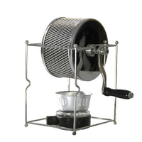 Stainless Steel Coffee Roaster Manual Hand Operated Rotary Gas Alcohol Stove Bean Baking Maker Espresso Machine