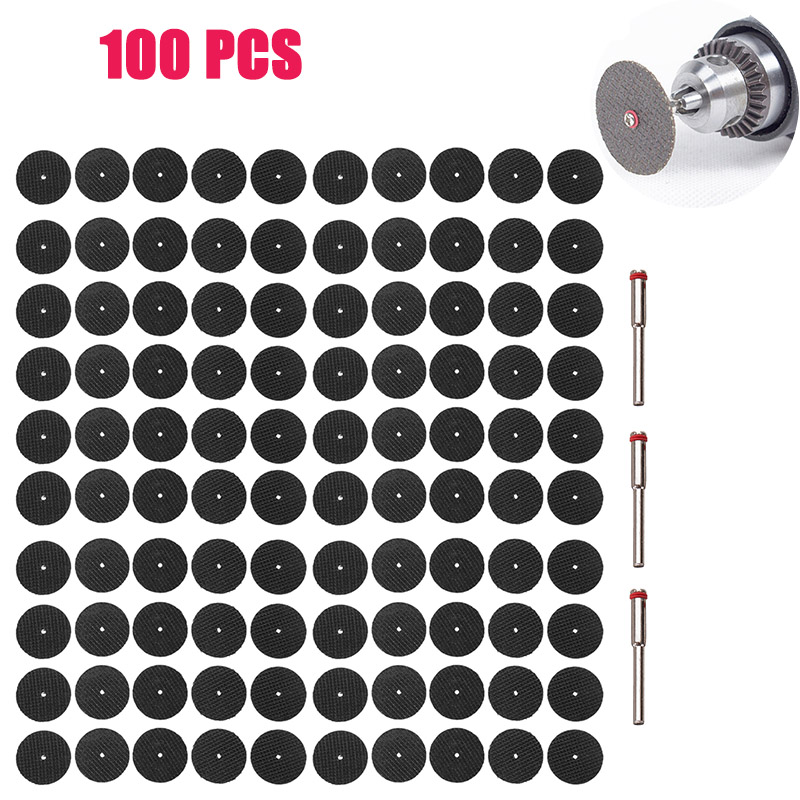 100pcs/set Metal Cutting Disc For Dremel Grinder Rotary Tool Circular Saw Blade Wheel Cutting Sanding With 3pc Mandrel Accessory
