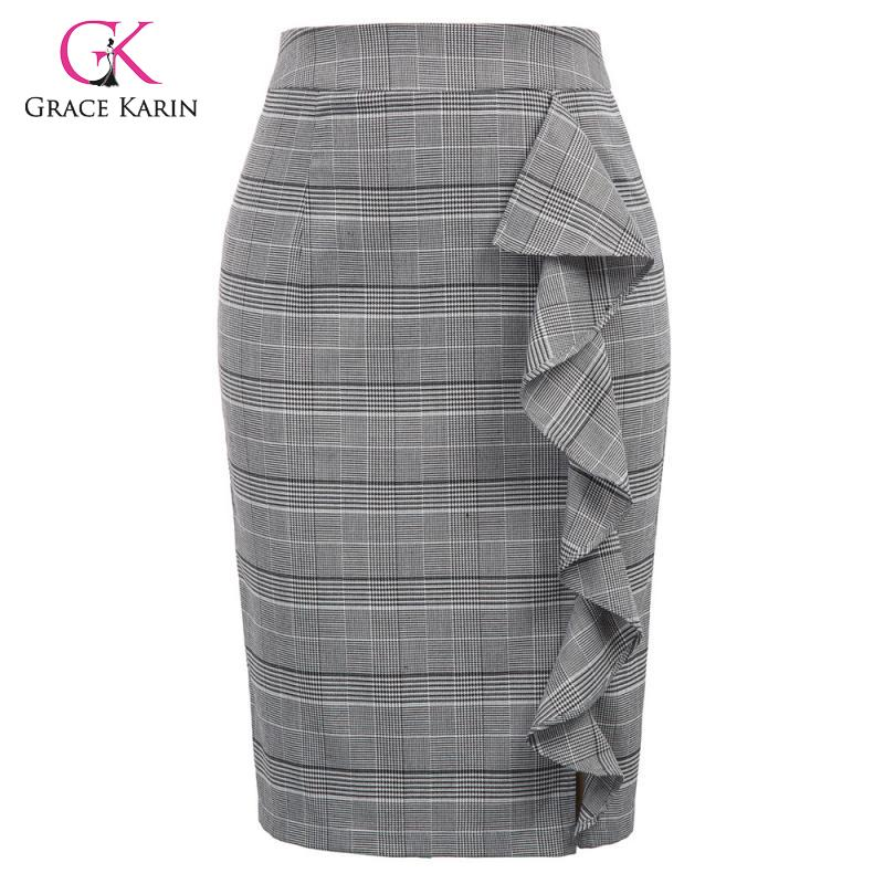 Grace Karin Women's Vintage Plaid Formal Pencil Skirt High Waist Ruffles Decorated Midi Skirts Ladies Office Work Bodycon Skirt
