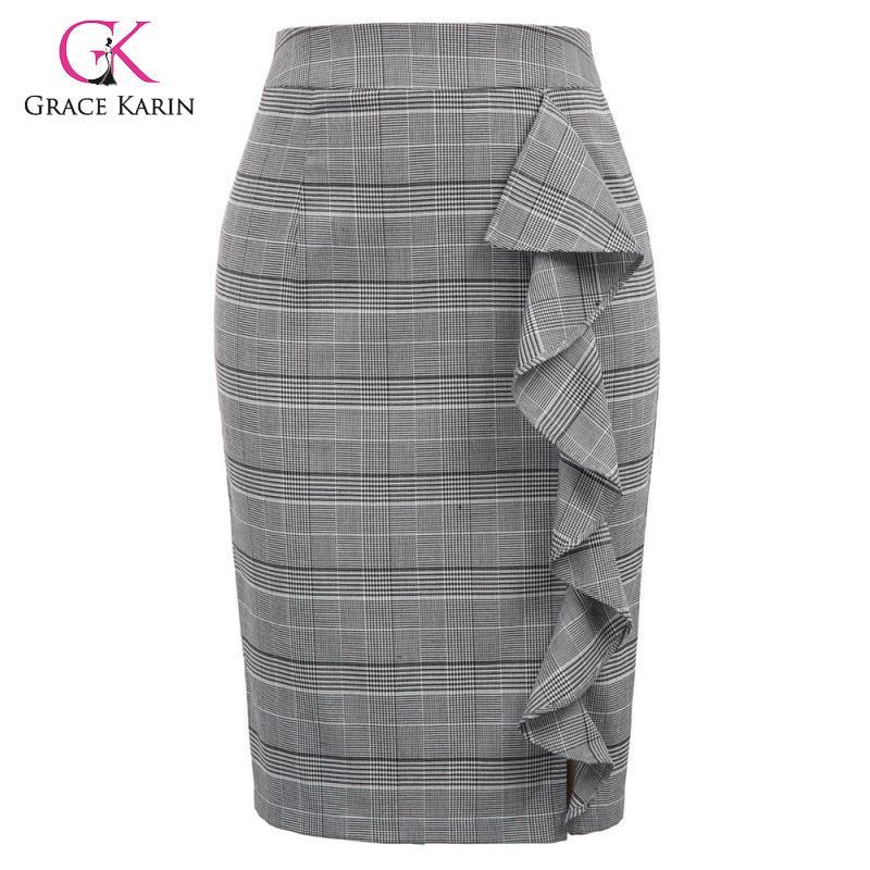 Grace Karin Women's Vintage Plaid Formal Pencil Skirt High Waist Ruffles Decorated Midi Skirts Ladies Office Work Bodycon Skirt