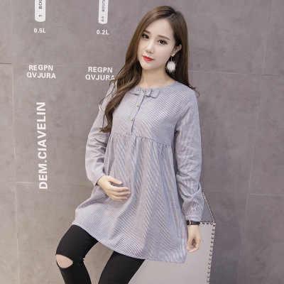 Maternity เสื้อผ้า 2019 ฤดูใบไม้ร่วงสไตล์ใหม่สไตล์เกาหลีสไตล์แฟชั่นลาย Bow กลางความยาวฐานหลวมหญิงตั้งครรภ์