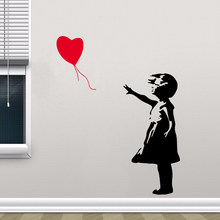 Classic Vinyl Stickers Girl With Red Balloon For Home Living Room Decoration Decal Bedroom Decor Mural Wall Sticker(China)