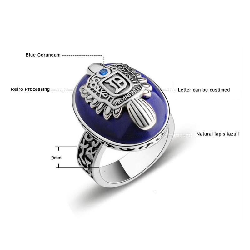 Le Vampire Diaries anneaux réel 925 argent Sterling Damon Salvatore bague hommes avec Lapis Lazuli gemme pierre naturelle bijoux fins - 2