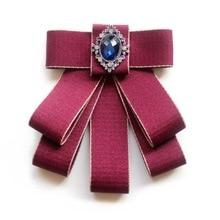 College Style Women Bowtie Collar Flower Formal Dress Brooch Crystal Necktie Temperament Bow