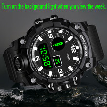 HONHX Luxury Mens Digital LED Watch Date Sport Men Outdoor Electronic Watch Electronic Watch digital Watch fashion watch cheap Cooeverly Resin 26 3cm No waterproof Fashion Casual Buckle ROUND 22mm 16mm Glass None No package 55mm