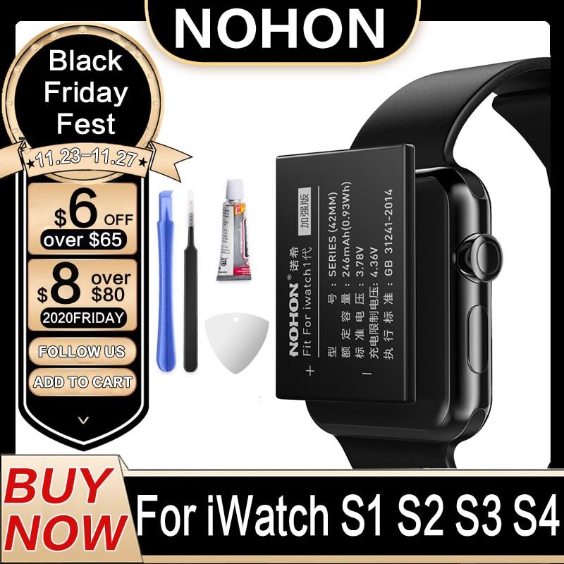 Аккумулятор NOHON A1579 A1578 для Apple Watch 1 2 3 4 42 мм S1 S2 S3 S4 A1761 Серия 1 38 мм реальная емкость аккумулятора 40 мм 44 мм
