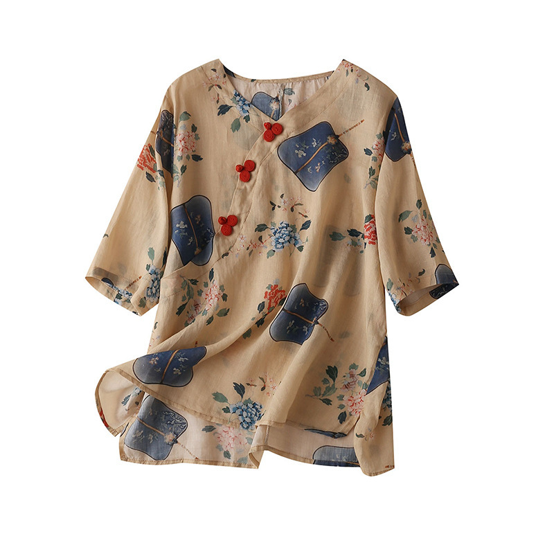 100% Linen Chinese Style Blouse Women Half Sleeve Print Mandarin Collar High Quality Shirt For Woman Camisas Estampadas De Mujer