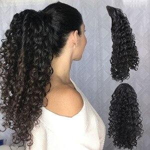 Женские заколки для конского хвоста Amir, синтетические термостойкие шпильки для наращивания волос с хвостом пони, кудрявые накладные пучки ...