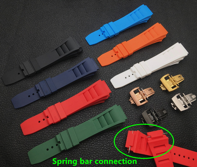Top Brand Quality Imported Nature Soft Silicone Rubber Watchband Watch Band For Mille Strap For RM-011 Strap For Richard 25mm