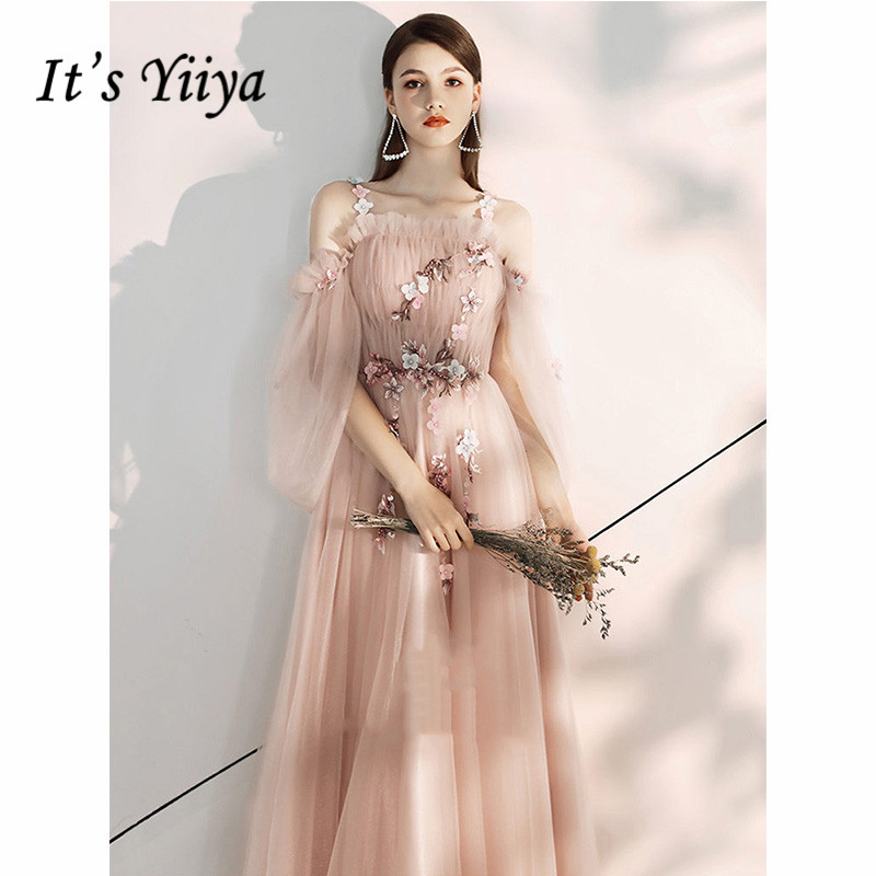 It's Yiiya Evening Dress 2019 Floral Print Boat Neck Elegant Formal Dresses Flowers Spaghetti Strap Long Robe De Soiree E1085