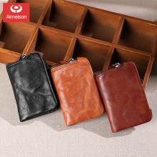 Coin purse women's short leather zipper head layer leather wallet handmade retro male key bag multifunctional soft  ASBD024