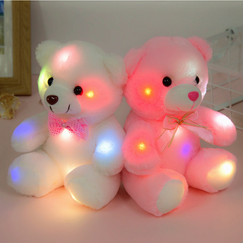 22cm Kids Plush Stuffed Toys Lovely Bears Colorful Glowing Bear Toys For Baby Girls Birthday Party Light-up Toy Children Gift