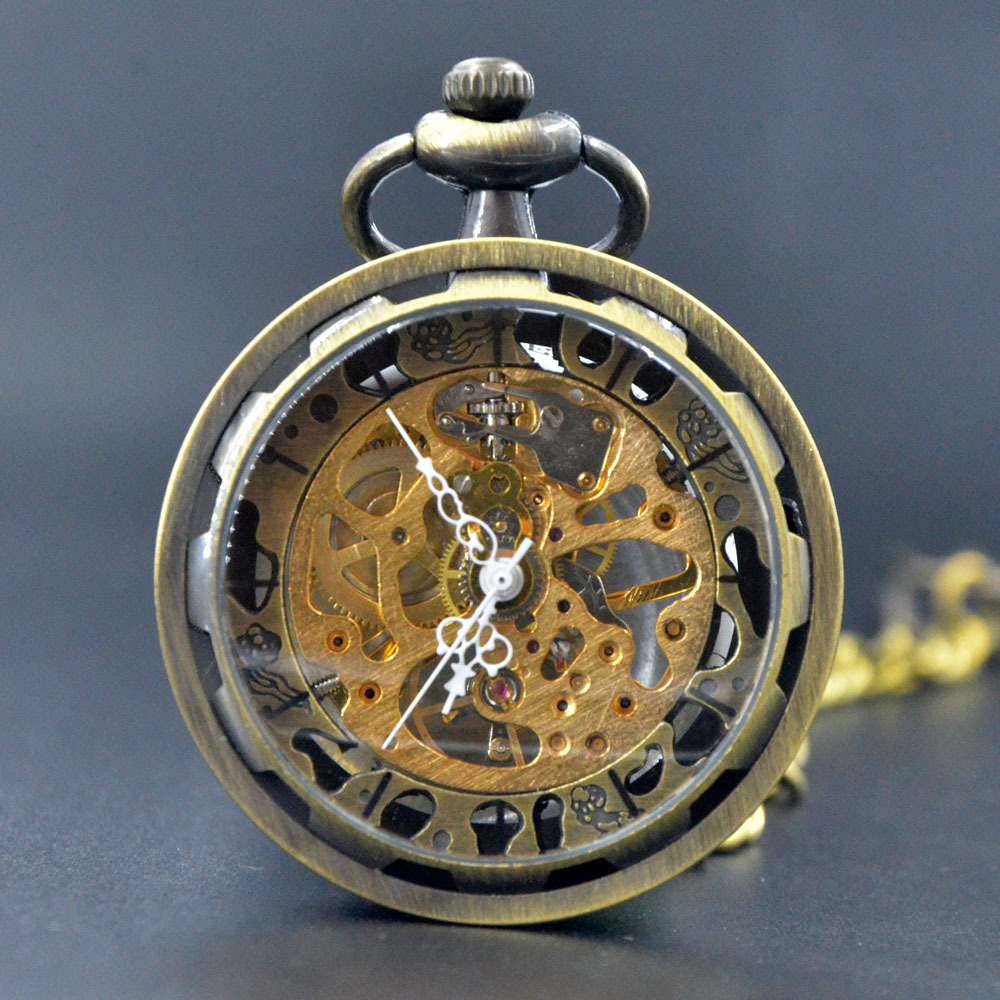 M061 Hand Wind Mechanical Pocket Watch With Box Bronze Skeleton Gears No Cover Men Women No