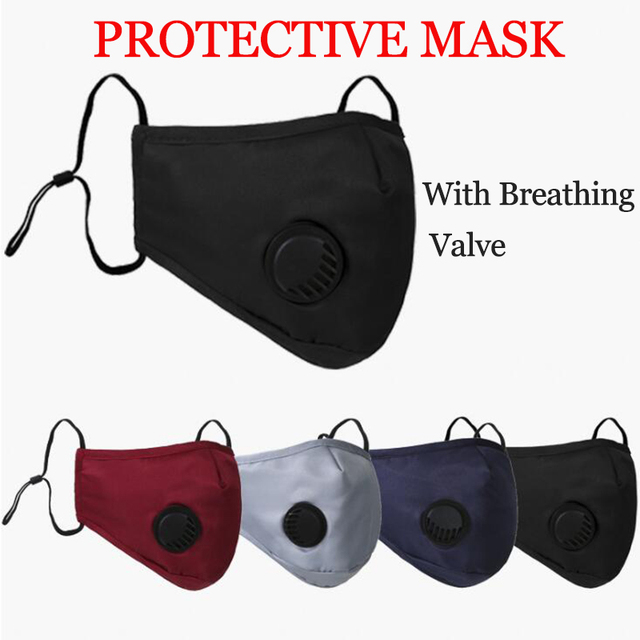 Anti Pollution PM2.5 Flter Mouth Mask Dust Respirator Washable Reusable Masks Cotton Unisex Bacteria proof Flu Face Mask Black 2