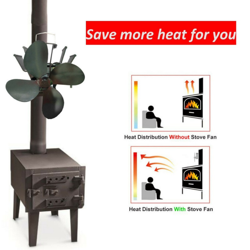 4 Blades Fireplace Fan Wall Mounted Silent Eco-Friendly Heat Powered Stove Fan For Home Wood Log Burning Circulating Warm Air Sa