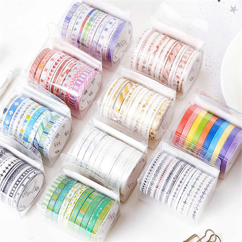 10pcs Basic Frame Paper Washi Tape Set 5mm Lace Kawaii Pattern Rainbow Color Adhesive Masking Tapes Stickers Decoration A6599