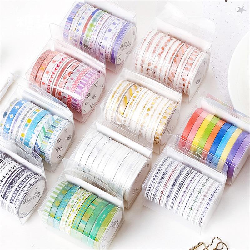 10pcs Basic Frame Paper Washi Tape Set 5mm Lace Kawaii Pattern Rainbow Color Adhesive Masking Tapes Stickers Decoration A6599