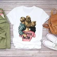 Top T-Shirt Graphic Print Super-Mom Cartoon Summer Lady Ladies Tee Female Life-Momlife