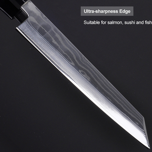 Image 2 - 24cm סושי סשימי סכין יפני vg10 דמשק פלדה Kiritsuke סלמון דגי פילה מטבח שף סכין עם אוקטגון ידית 2.1G